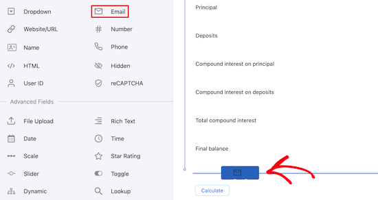 Add email field to calculator