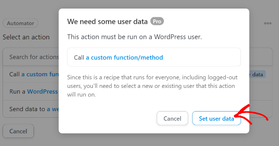 Allow set user data