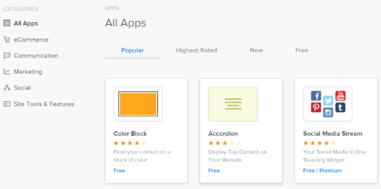 Apps in Weebly