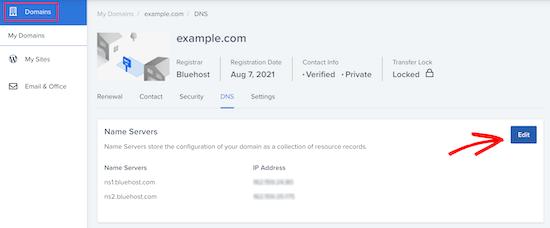 Edit nameservers in hosting cPanel