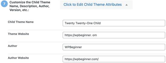 Click to Edit Child Theme Attributes
