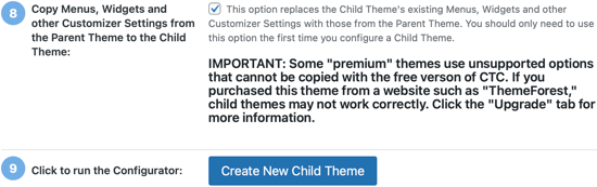 Click the Button to Create Your New Child Theme