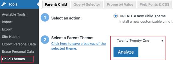 Select a Parent Theme