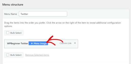 Click the Menu Image option