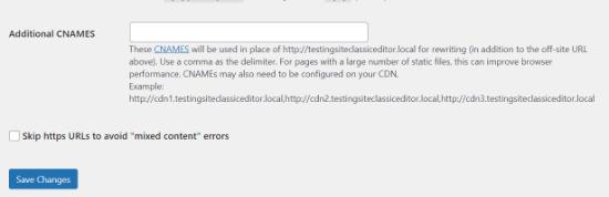 Click the skip HTTPS URLs option