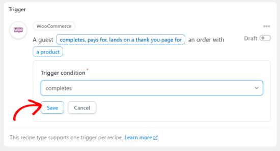 Completes order trigger