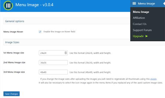 Configure image sizes