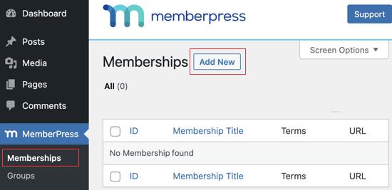 Go to the MemberPress Memberships Page