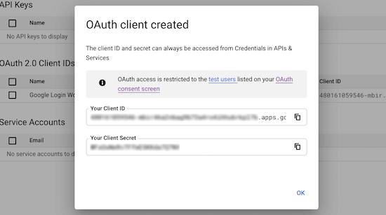 Copy client ID and client secret ID