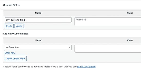 Adding custom fields in WordPress