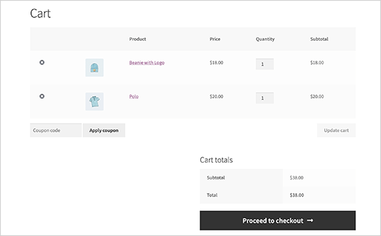 Default cart experience in WooCommerce