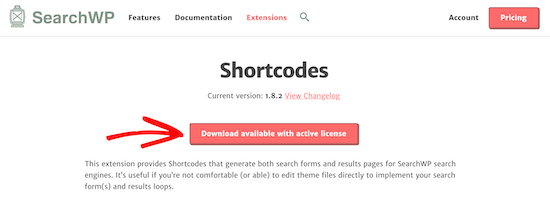 Download SearchWP shortcodes extension
