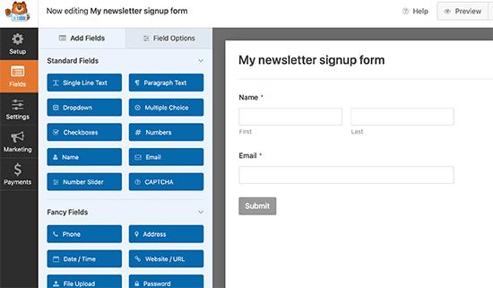 Email list form builder