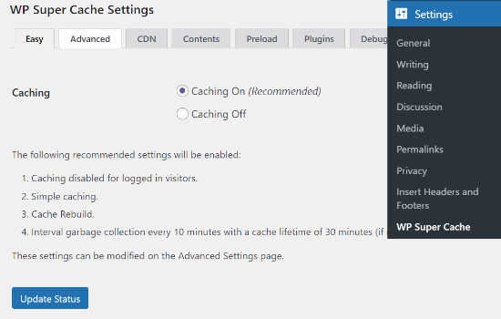 Enable caching in WP Super Cache