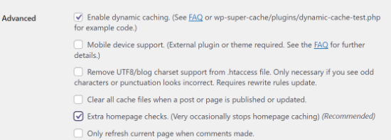 Enable dynamic caching