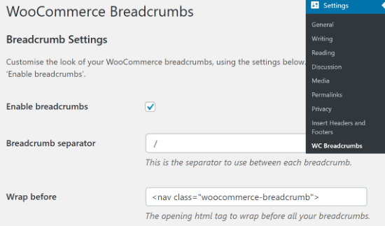 Enable WooCommerce Breadcrumbs