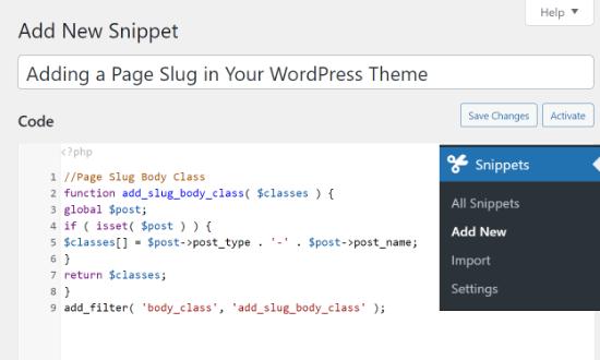 Enter code snippet
