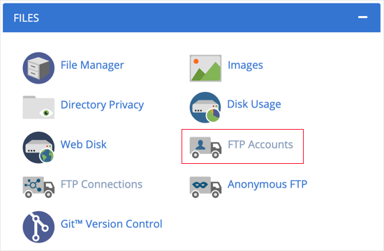 FTP Account Information in Your Hosting Account