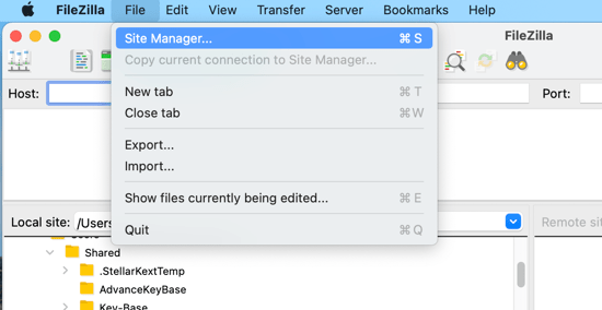 Go to File » Site Manager