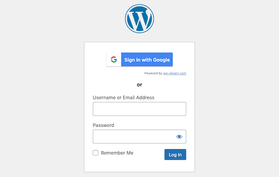 Google sign in screen option