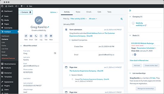 HubSpot WordPress CRM and Marketing Automation Plugin