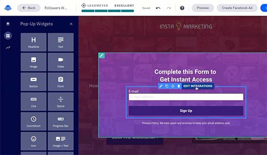 Add a popup in Leadpages