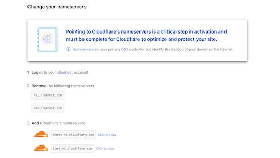 Change Cloudflare nameservers