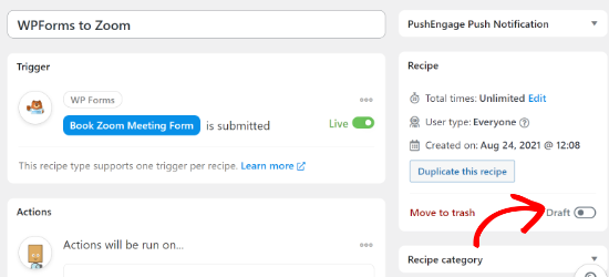 Publish your WPForms to Zoom recipe