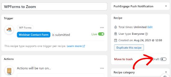 Publish Zoom webinar recipe