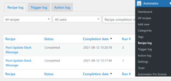 Recipe log in Uncanny Automator