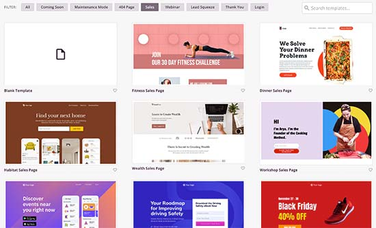 Sales page templates