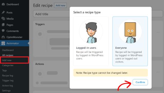 Select a recipe type
