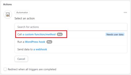 Select Call a custom function