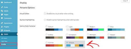 Select custom color scheme