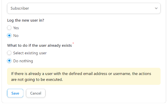 Select Do nothing for Existing Users