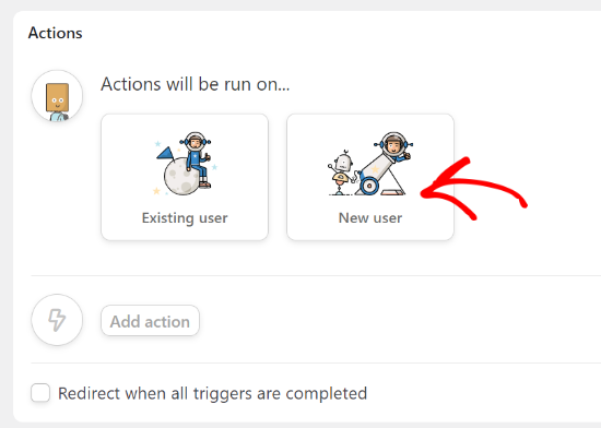 Select existing user