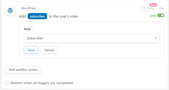 Select the user role you want to assign
