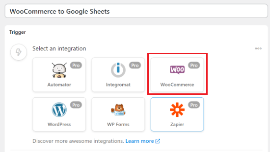 Select WooCommerce as the integration