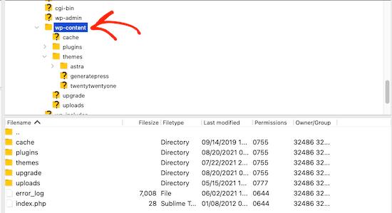 Select wp-content folder FTP