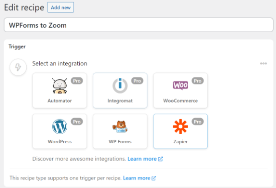 Select WPForms to integrate with Zoom