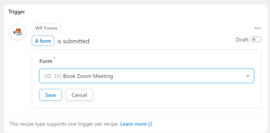 Select your Zoom meeting form
