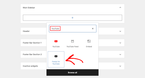 Select Feeds for YouTube block