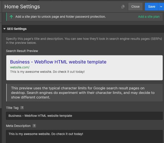 SEO Settings in Webflow