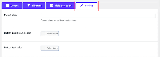 Shortcode styling menu