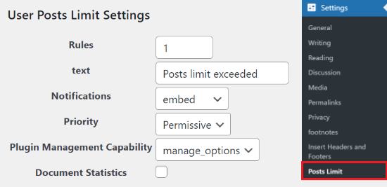 User Posts Limit settings