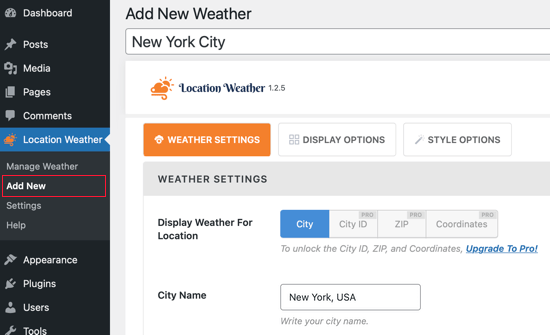 Location Weather's Add New Page