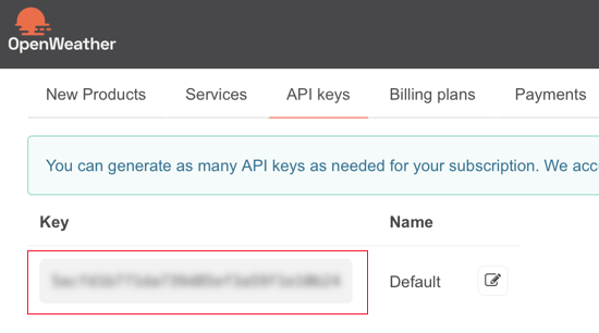 OpenWeatherMap API Key