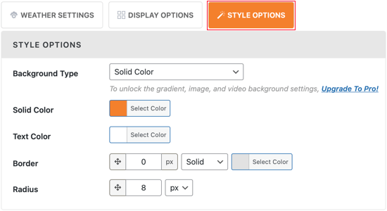 The Style Options Tab