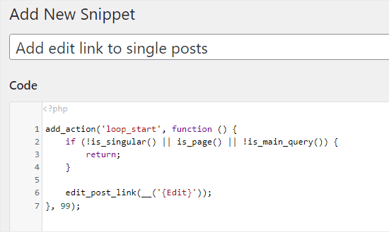 code snippet to add edit link to single posts