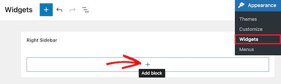 Aggiungi un nuovo blocco widget per la ricerca